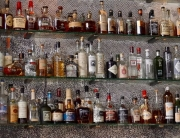 bottle on shelves